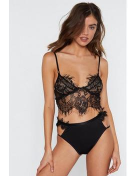 Eyelash You Nicely Bralette And Strappy Panty Set by Nasty Gal