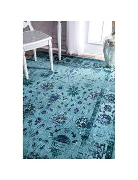 Nu Loom Traditional Vintage Inspired Overdyed Floral Turquoise Rug (8' X 10') by Nuloom