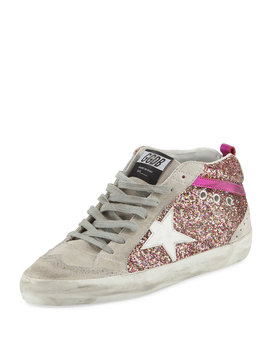 Glitter Mid Top Platform Sneaker by Golden Goose