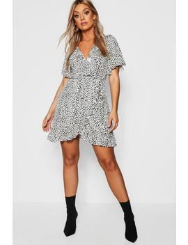 Plus Dalmation Print Ruffle Tea Dress by Boohoo