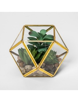 "4.1"" X 4"" Artificial Succulent Glass Terrarium Gold   Opalhouse™ by Opalhouse"