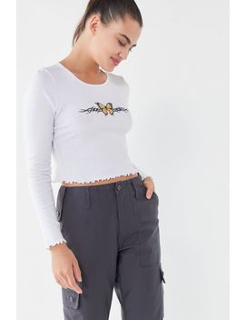 Truly Madly Deeply Butterfly Long Sleeve Cropped Top by Truly Madly Deeply