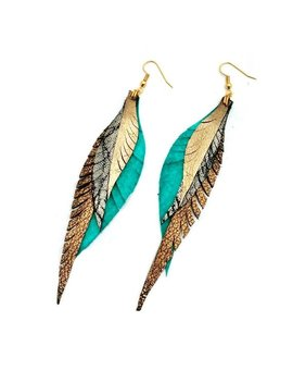Leather Feather Earrings   Silver, Turquoise And Gold by Etsy