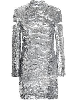 Cutout Sequined Tulle Turtleneck Mini Dress by Helmut Lang