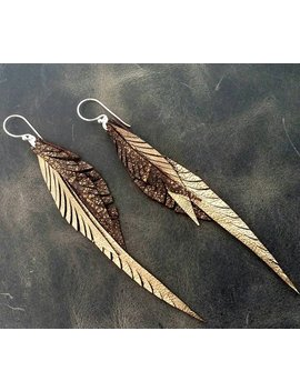 Gold Leather Feather Earrings With Sterling Silver Hooks And Rings by Etsy