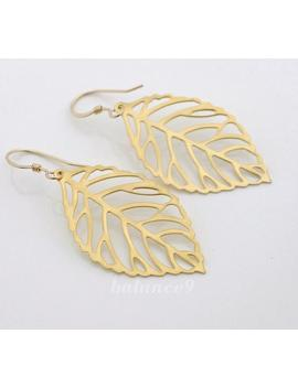 Gold Leaf Earrings, Dainty Leaf Earrings, Filigree Dangle Earrings, Gold Filled Ear Wire, Everyday Jewelry Gift For Her, By Balance9 by Etsy