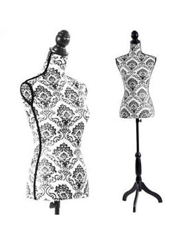 Female Mannequin Torso Dress Form Black Tripod Stand Display Baroco Style by Hynawin