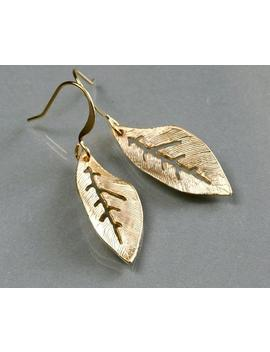 Leaf Earrings, Dainty Leaf Drop Earrings, Leaf Dangle Earrings Gold Or Silver, Everyday Jewelry, Holidays Gift, By Balance9 by Etsy