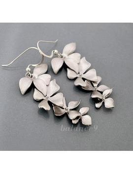 Orchid Earrings, Flower Cascade Earrings, Dainty Floral Dangles, Sterling Silver Ear Wire, Bride Bridal Wedding Jewelry, By Balance9 by Etsy