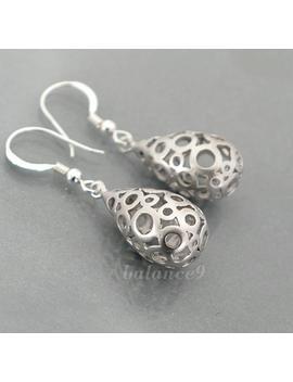Silver Drop Earrings, 3 D Filigree Earrings Jewelry Gift, Dainty Teardrop Bubble Dangles, Sterling Silver Ear Wire, By Balance9 by Etsy