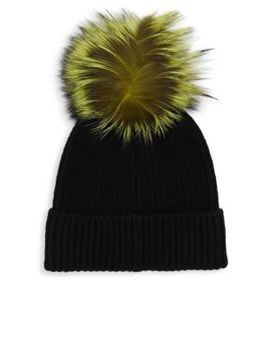 Dyed Fox Fur Pom Pom Cashmere Hat by Saks Fifth Avenue