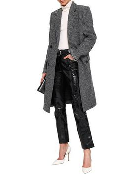 Double Breasted Wool Blend Tweed Coat by Helmut Lang