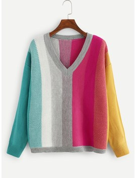 Plus V Neck Color Block Sweater by Shein