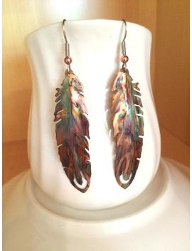 Feather Earrings, Boho Feather Earrings, Feather Jewelry, Flame Painted, Copper Feather, Oxidized Copper, Torched Copper, Painted Feathers by Etsy