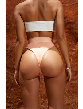 Bow Me Away High Waisted Ribbed Bikini Bottom In Peach by Oh Polly