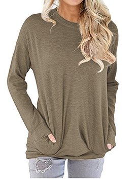 Felacia Womens Tunics Blouses Tops Casual Long Sleeve Round Neck Sweatshirt Loose Tshirt Womens Tunics Blouses Tops by Felacia
