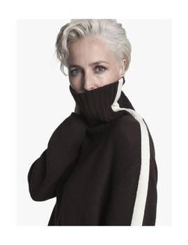 Gillian Anderson Cashmere Roll Neck Jumper, Chocolate/Ivory by Winser London