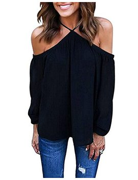 Vemvan Women's Spaghetti Halter Off The Shoulder Blouse Long Sleeve Shirt Tops by Vemvan