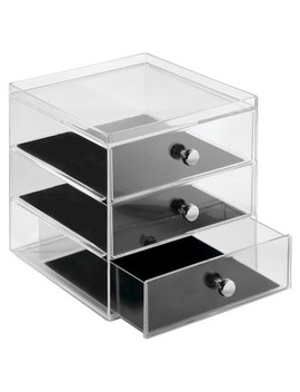 Inter Design 3 Drawer Polystyrene Jewelry Box   Clear/Black by I Design
