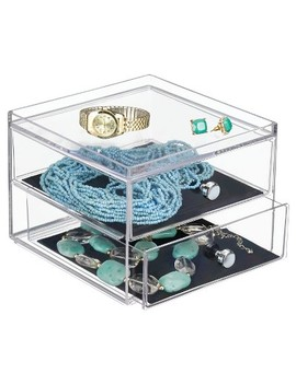 Inter Design 2 Drawer Polystyrene Jewelry Box   Clear/Black by I Design