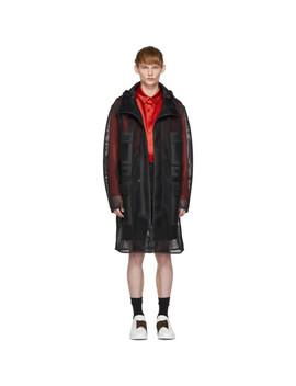 Black Mesh 'fendi Mania' Hooded Coat by Fendi