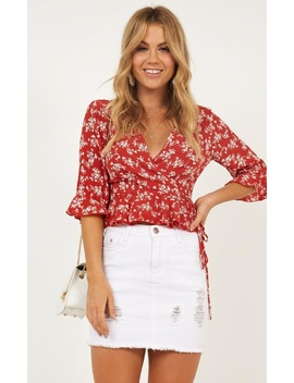 Hard To Get Top In Red Floral by Showpo Fashion