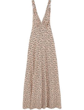 Floral Print Silk Crepe De Chine Gown by Prada