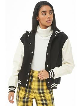 Hooded Faux Leather Sleeve Varsity Jacket by Forever 21