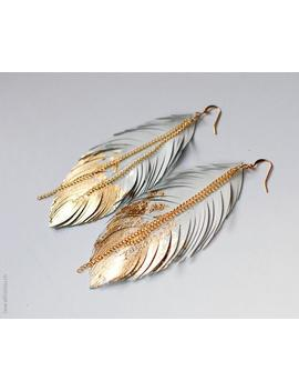 Feather Earrings, Gold Dipped Feather In White Leather, Bohemian Statement Leather Earrings, Boho Wedding Jewelry, Dangle Fringe Earrings by Etsy