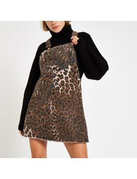Denim Leopard Print Pinafore Overall Dress by River Island
