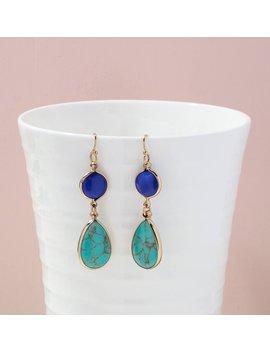 Turquoise Earrings, Geometric Earrings, Dainty Earrings, Teardrop Earrings, Gemstone Earrings, Dangle And Drop Earrings, Unique Gifts by Etsy