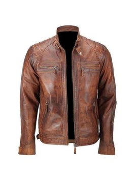 Cologne Retro Style Quilted Biker Jacket Soft Genuine Lambskin Leather Black & Distressed Brown Or Blackish, Maroon by Etsy