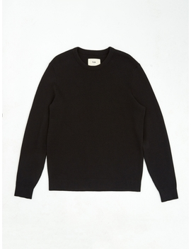 Waffle Patch Crewneck Jumper   Soft Black by Folk