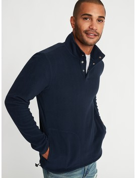 Micro Performance Fleece 1/4 Snap Mock Neck Pullover For Men by Old Navy