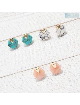 White Marble Earrings, Hexagon Earrings, Stud Earring, Geometric Earrings, Minimalist Earrings, Dainty Earrings, Mini Earrings, Unique Gifts by Etsy