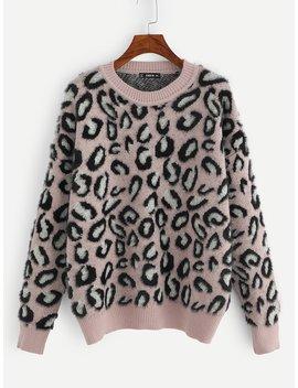 Plus Drop Shoulder Faux Fur Sweater by Shein