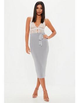 Grey Slinky Tie Waist Midi Skirt by Missguided