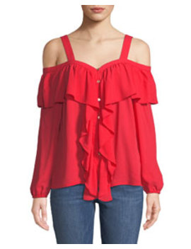 Cold Shoulder Chiffon Button Front Chiffon Blouse by Michael Michael Kors