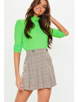 Brown Check Button Detail Skater Skirt by Missguided