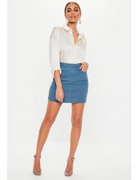 Blue Super Stretch Denim Skirt by Missguided