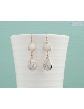White Marble Earrings, Geometric Earrings, Minimalist Earrings, Simple Dangle Drop Earrings, Bridesmaid Earrings, Dainty Earrings, Teardrop by Etsy