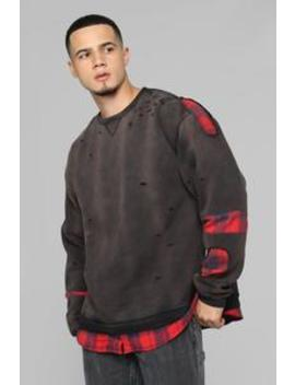 Will Flannel Pullover   Black/Red by Fashion Nova