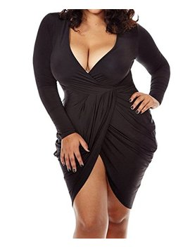Poseshe Womens Plus Size Deep V Neck Bodycon Wrap Dress With Front Slit by Poseshe