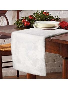 Aer Wo Faux Fur Christmas Table Runner, Winter Snowy White Table Runner For Christmas Holiday Table Decoration by Aer Wo