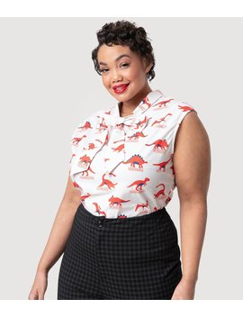 Folter Plus Size Ivory Dotted & Red Dino Mite Cotton Sleeveless Blouse by Unique Vintage