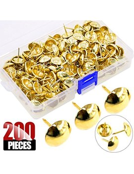 Hilitchi 200 Pieces 5/8'' (16mm) Round Dome Head Vintage Decorative Upholstery Nails Tacks Furniture Sofa Thumb Tacks Nails Pins With Clear Plastic Case (Gold) by Hilitchi