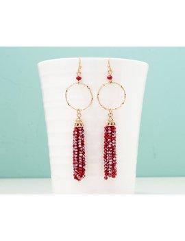 Red Beaded Tassel Earrings, Hoop Earrings, Dangle Drop Earrings, Beaded Line Earring, Statement Earrings, Dainty Earring, Minimalist Earring by Etsy