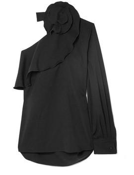 One Shoulder Ruffled Stretch Silk Blouse by Oscar De La Renta