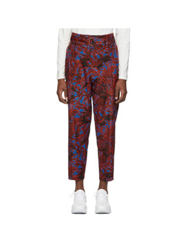 Blue Floral Palm Tree Trousers by 3.1 Phillip Lim