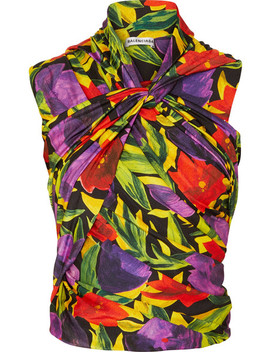 Ruched Twist Front Floral Print Stretch Jersey Top by Balenciaga